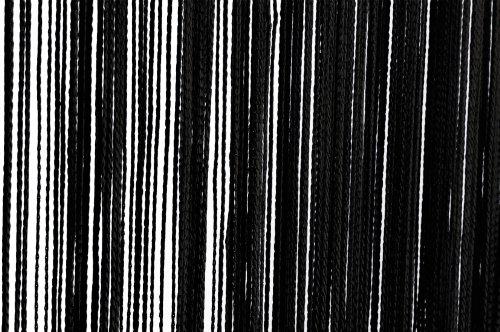 Fadenvorhang Türvorhang 90x250 cm oder 140x250 cm Fadengardine verschiedene uni Farben (140x250 schwarz)