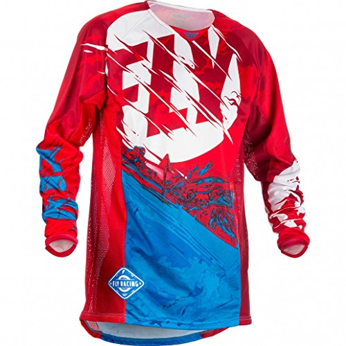 (Fly Racing Men's Kinetic Outlaw Jersey (Red/Blue, Youth Medium))