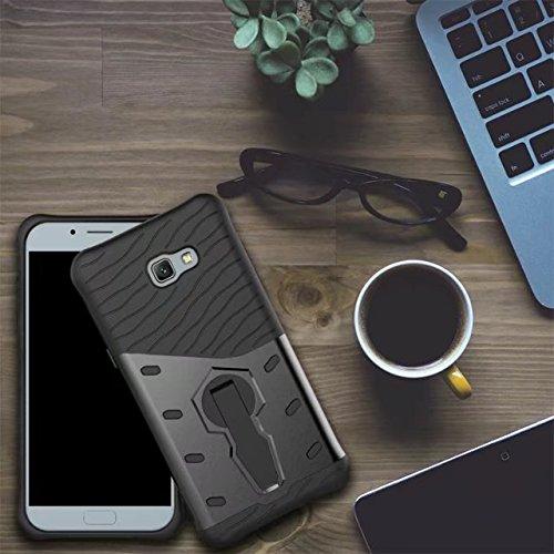 YHUISEN Hybrid Tough Rugged Dual Layer Rüstung Schild Schützende Shockproof mit 360 Grad Einstellung Kickstand Case Cover für Samsung Galaxy A7 2017 A720 ( Color : Black )