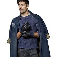 Fioretto Mens Winter Genuine Goat Nappa Embroidery Leather Driving Gloves