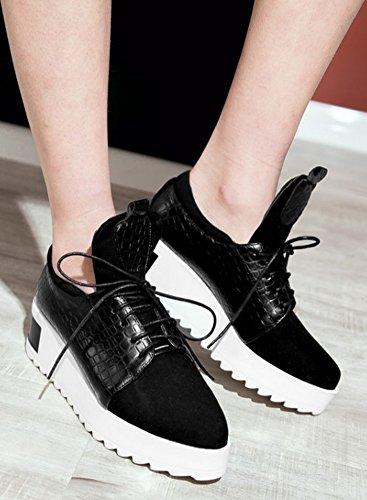 Sfnld Femmes Casual Lace Up Milieu Wedge Talon Sneakers Noir