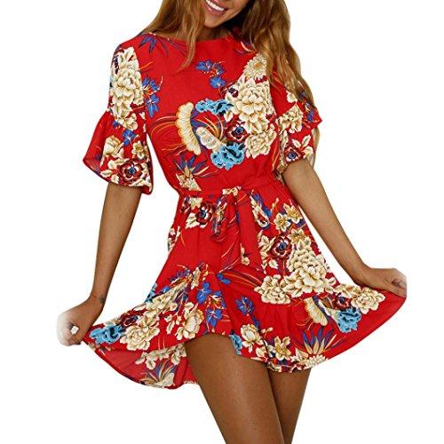 Wintialy Fashion Women Spaghetti Strap Floral Print Beach Style Skater A Line Mini Dress