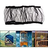 Bird Cage Cover Seed Catcher Net - Aolvo Bird Cage Skirt Seed Guard - Extra Large Cage Mesh Seeds Guard Parrot Cage Shell Skirt - Stretchy Soft Airy Black - 52-98.4 Inch - L