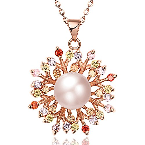 [SDLM Excellent White Pearl Small Crystal Flowers Rose Gold Plated Charm Necklace] (Homemade Character Costumes Ideas)