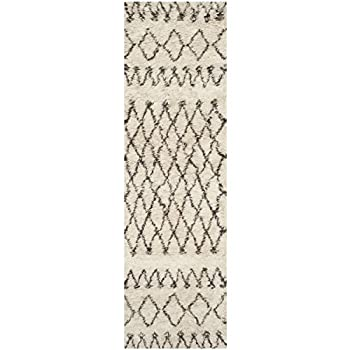 """Safavieh Casablanca Shag Collection CSB851A Southwestern Ivory and Natural Premium Wool & Cotton Runner (23"""" x 8)"""