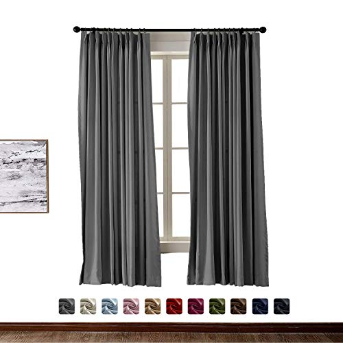 BeyondEC Pinch Pleat Curtain Solid Thermal Insulated Blackout Patio Door Panel Drape for Traverse Rod and Track, Grey 100Wx84L Inch (1 Panel)