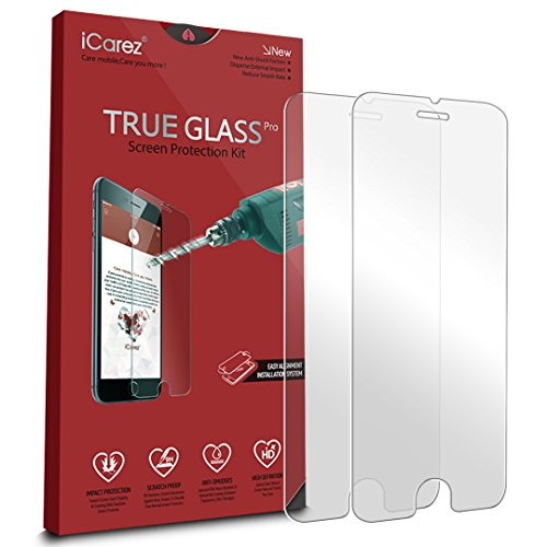 iCarez [Tempered Glass] Screen Protector for iPhone 7 iPhone 6 6s 4.7 inch Highest Quality Easy Install [ 2-Pack 0.33MM 9H 2.5D] with Lifetime Replacement Warranty