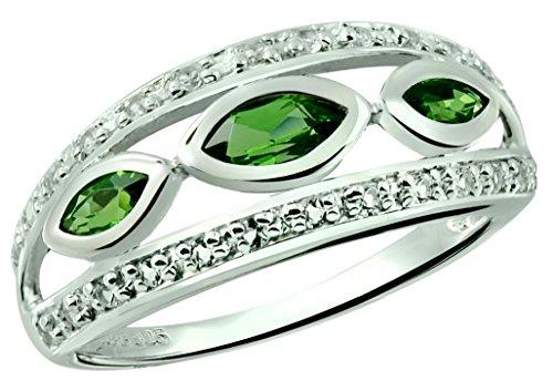 RB Gems Sterling Silver 925 Ring GENUINE GEMSTONE, Bezel-Setting, RHODIUM-PLATED Finish, 3-Stone Style (7, tsavorite)
