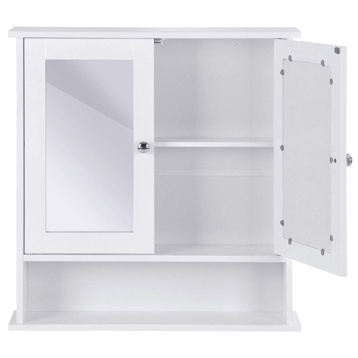 KCHEX>>>New Bathroom Wall Cabinet Double Mirror Door Cupboard Storage Wood Shelf White>Still worry about no space to put your essentials in the bathroom? Our bathroom wall-mounted cabinet with two