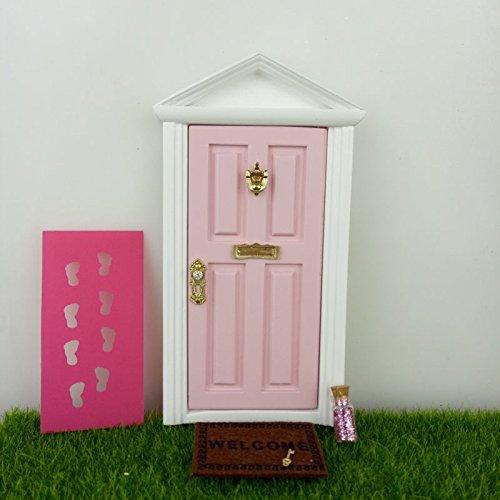 Wooden Fairy Doors The Little Fairy Door Thats Open with Free Fairy Door Accessories Pink Fairy Door Open Outwards Come with Fairy Key,Dust,Foot Printer,Welcome Mat - Tiny Door