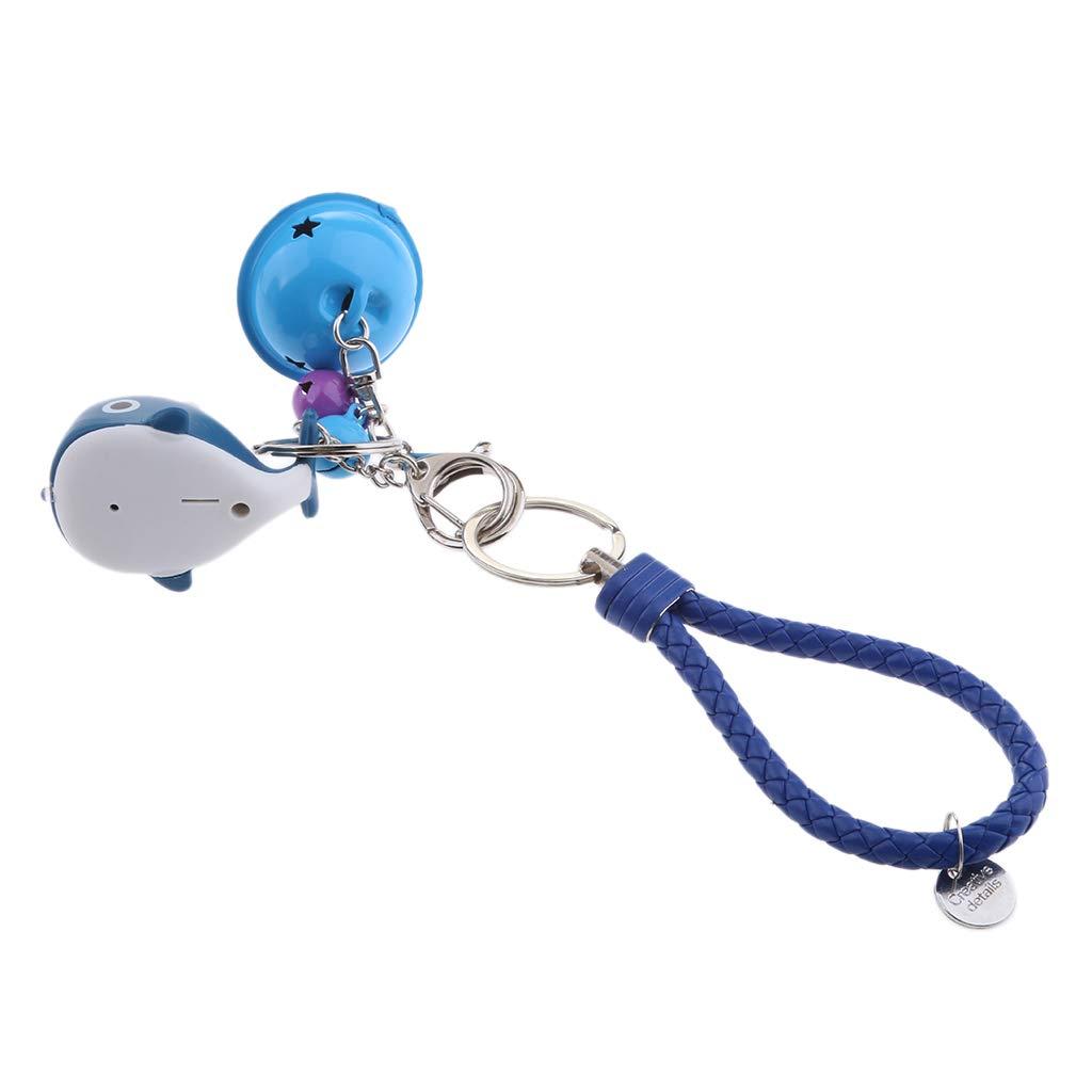 P Prettyia Anillo Dominante con Colgante Luminoso de Ballena LED Luz Sonido Campanilla Cute Animal Adornos de Claves Armada