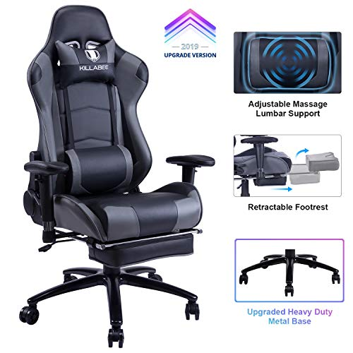 - KILLABEE Big and Tall 350lb Massage Gaming Chair Metal Base - Adjustable Massage Lumbar Cushion, Retractable Footrest High Back Ergonomic Leather Racing Computer Desk Executive Office Chair