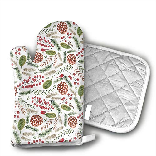 Pinecone Oven Mitt - LALABULU Oven Mitts Christmas Holiday Pine Cone Non-Slip Silicone Oven Mitts, Extra Long Kitchen Mitts, Heat Resistant to 500Fahrenheit Degrees Kitchen Oven Gloves