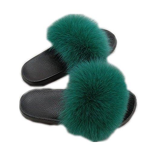 Women Real Fox Fur Feather Vegan Leather Open Toe Single Strap Slip On Sandals Multicolor (11, Green)