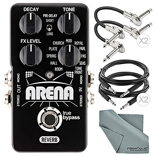 "TC Electronic Arena Reverb Pedal and Accessory Bundle w/Xpix 1/4"" TRS Cable + 1/4"" Right Angle Phone Male Cable + Fibertique Cloth"