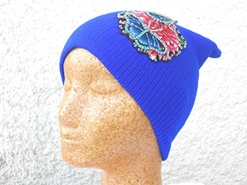 blue Slouchy Beanie Hat with embellished and hand beaded butterfly - Womens Chanel Hat