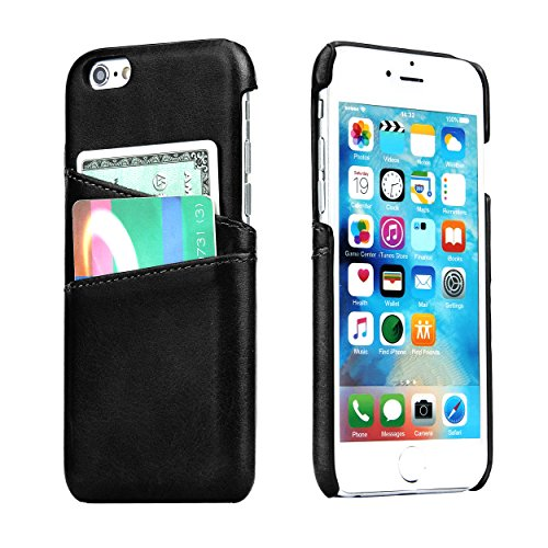 iPhone 6S 6 Slim Card Case - SOWOKO Ultra Slim Faux Leather Credit Card ID Holder Slots Shockproof Protective Cover for Apple iPhone 6S 6 (Black)