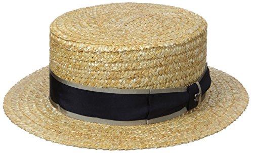 Hickey Freeman Men's Raffia Straw Boater Hat, Natural/Navy, 58
