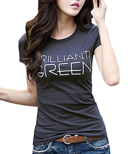Face N Face Women's Causul Print T Shirts Summer Tops Cotton Jersey Tee Medium Deep (Deep Face Tee)