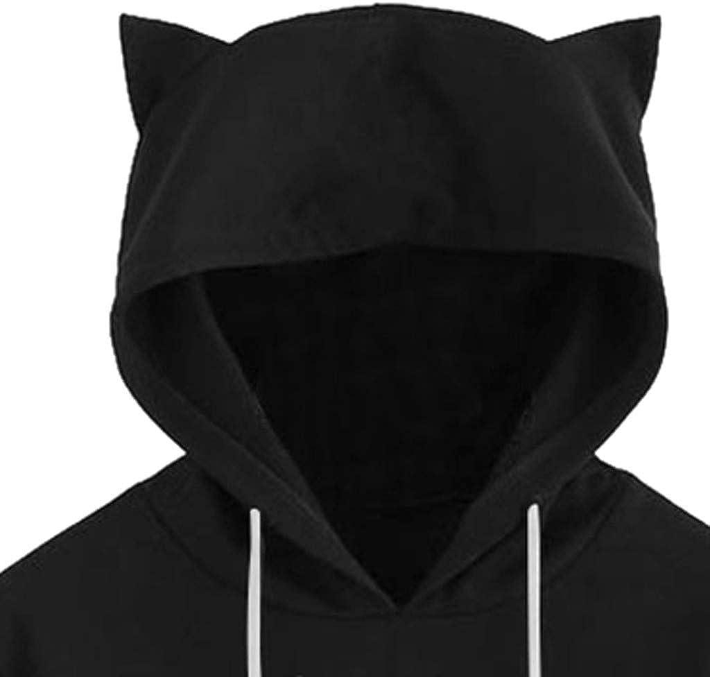 manadlian Sweat Femme avec Capuche Sweatshirt Femmes Chemisier Chat Imprimé Tops Grande Taille Manche Longue Hoodie Pullover Blouse Automne Hiver 2019 Noir