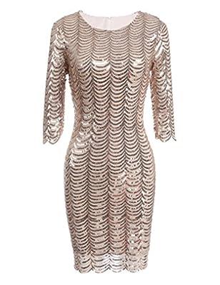 Locryz Women's Vintage 1920s Sequined Half Sleeve Bodycon Party Dress