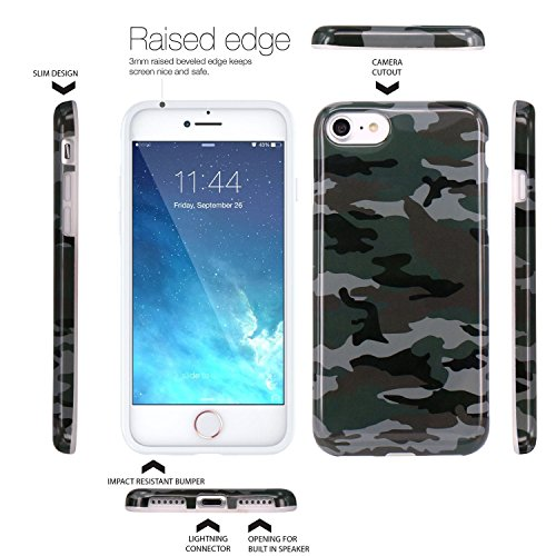 iPhone 7 Hülle, JIAXIUFEN grüne Tarnung Camo Design schlanke stoßfeste flexible Stoßfänger TPU weiche Tasche Gummi Silikon Skin für Apple iPhone 7
