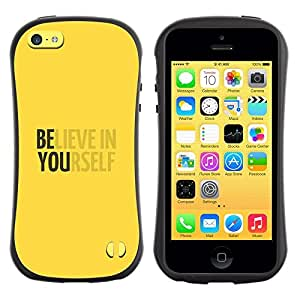 "Pulsar iFace Series Tpu silicona Carcasa Funda Case para Apple iPhone 5C , Crea en sí mismo motivación Amarillo"""