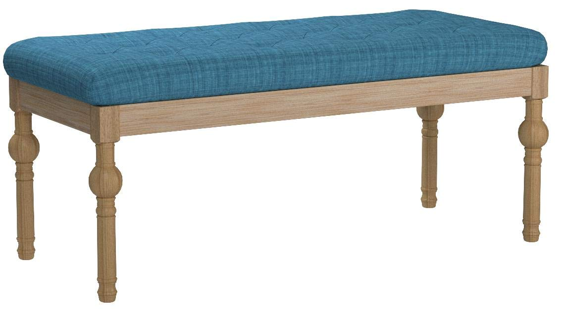Roundhill Furniture CB161BU Habit Solid Wood Button Tufted Dining Bench, Blue by Roundhill Furniture