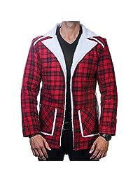 Deadpool Jacket Ryan Reynolds Checkered Shearling Men's Motorcycle Flannel Coat
