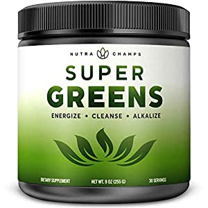 Gut Health Shop 51-aee9BWlL._SS300_ Super Greens Powder Premium Superfood - 20+ Organic Green Veggie Whole Foods - Wheat Grass, Spirulina, Chlorella & More…