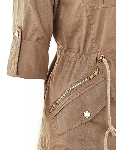 WJC643 Womens Pop Of Color Parka Jacket L Khaki by Lock and Love (Image #5)