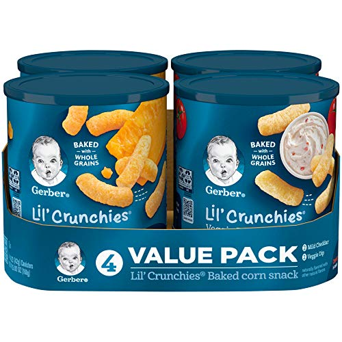 - Gerber Graduates Lil Crunchies, Cheddar and Veggie Dip, 1.48 Ounce, 4 Count
