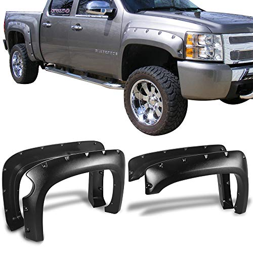Fender Flares Fits 2007-2013 Chevrolet Silverado 1500 | Pocket-Riveted Style Textured Black ABS Front Rear Right Left Wheel Cover Protector Vent by IKON MOTORSPORTS