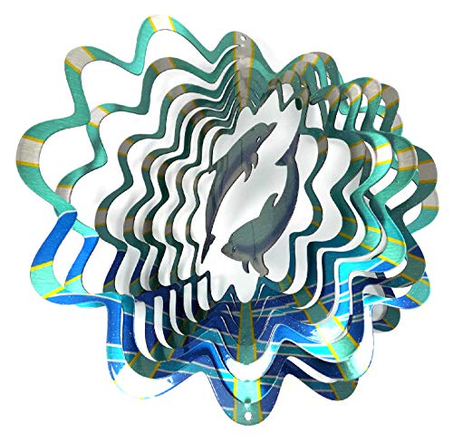 Hand Painted Dolphin - WorldaWhirl Whirligig 3D Wind Spinner Hand Painted Stainless Steel Twister Dolphin (6.5 inch, Multi Color Teal Blue Silver)