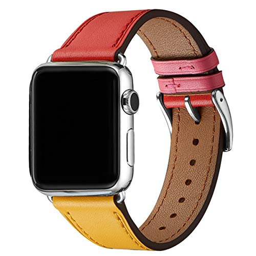 WFEAGL Compatible iWatch Band 38mm 40mm, Top Grain Leather Band Replacement Strap for iWatch Series 4,Series 3,Series 2,Series 1,Sport, Edition (Amber/Red+Silver Adapter, 38mm 40mm) ()