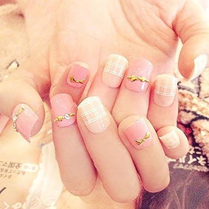 Amazon.com: 24 piezas/set Nude Rosa uñas postizas diseño ...