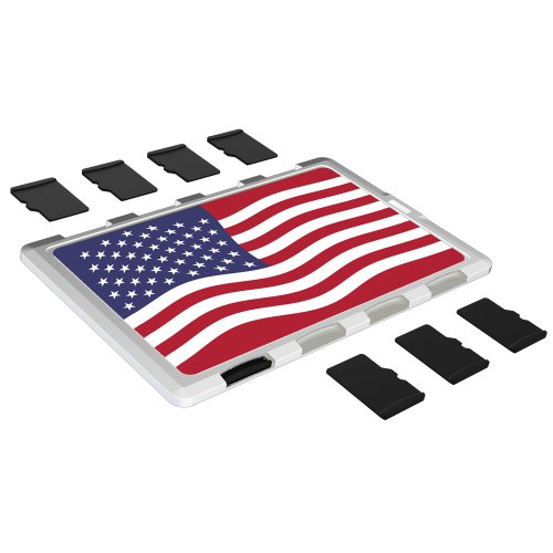 Price comparison product image DiMeCard micro8 microSD Memory Card Holder WHITE US FLAG Edition (Ultra thin credit card size case, writable label)