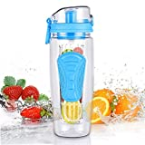 water filter pitcher target Infuser Water Bottles, 32 oz Sport Water Bottle with Fruit Infuser (Blue)