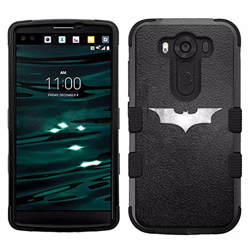 for LG V10, Hard+Rubber Dual Layer Hybrid Heavy-Duty Rugged Armor Cover Case - Batman #S at Gotham City Store