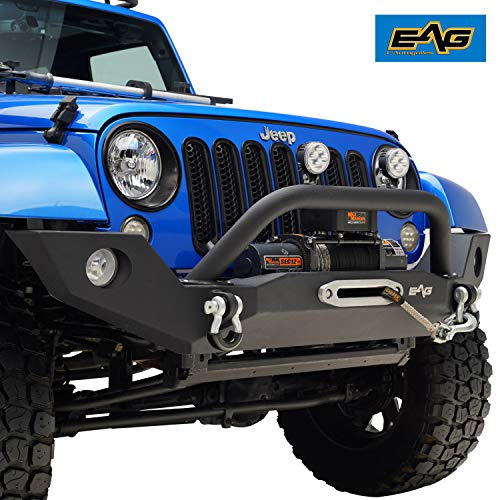 EAG Front Bumper Full Width with Winch Plate and Fog Light Housing Fit for 07-18 Jeep Wrangler JK Offroad ()