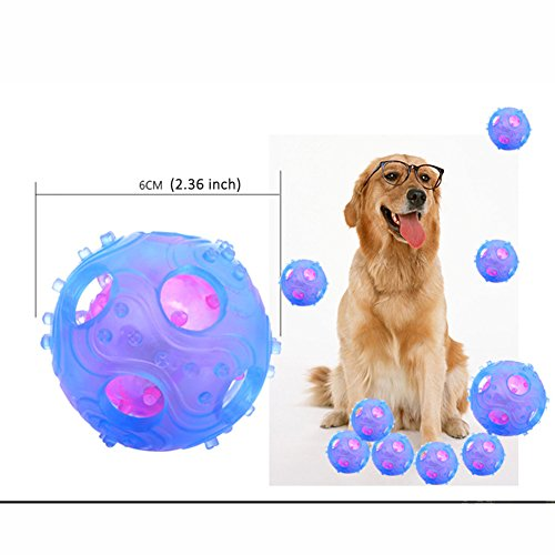 70%OFF 2 Pack Light Up Chew Balls Toys for Pet Cat Dog Feed Ball Treats Squeak Training Tooth Clean /Bite Resistant for Pets Dogs Puppy Tennis Ball Size
