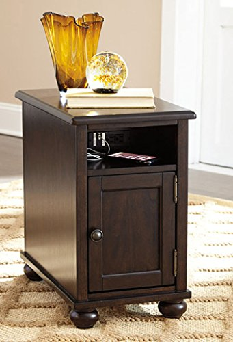 (Barilanni Chair Side End Table Dark Brown/Casual)