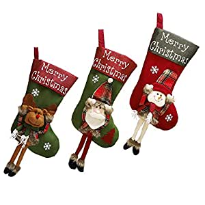 Shanke 3pcs Calcetines de Navidad Medias de Decoracoón de Navidad,Santa Claus, Muñeco de Nieve,y Alce Bolsa de Caramelo Botas Bolsillo árbol de Navidad Decoración(46.5x25cm Cada uno)