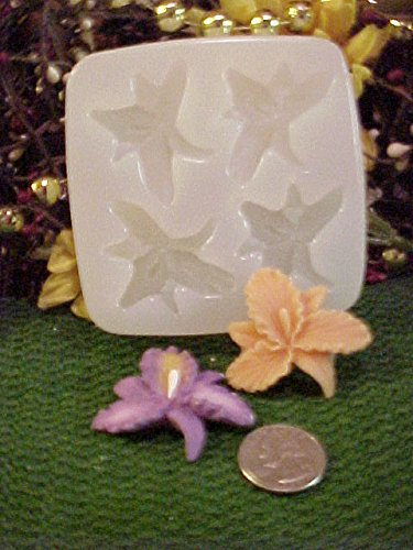 Iris Flower Embeds 4 Cavity Silicone Mold 754 Food-Soap-Candle-Resin-Flexible
