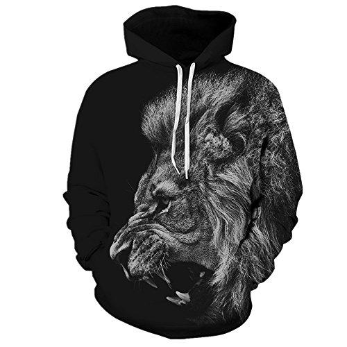 Samefar Unisex Realistic 3d Digital Print Pullover Hoodie Hooded Sweatshirt Large/X-Large Black -