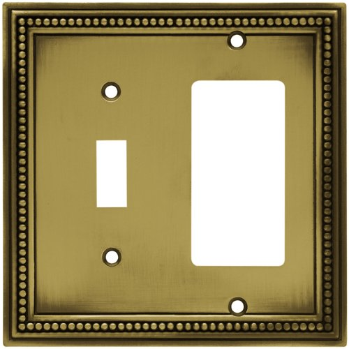 Brainerd 64739 Beaded Single Toggle Switch/Decorator Wall Plate / Switch Plate / Cover, Tumbled Antique Brass