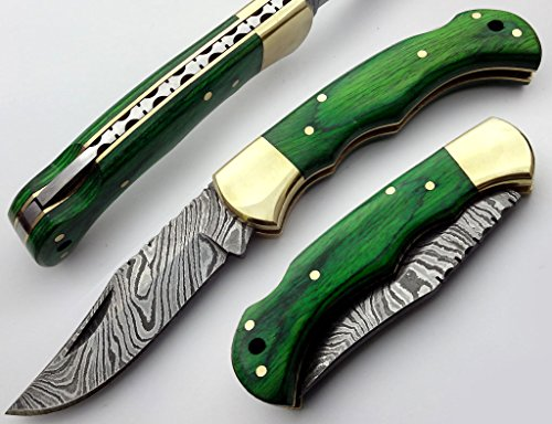 Beautiful Green Wood 6.5'' 100% Handmade Damascus Steel Folding Pocket Knife With Back Lock 100% Prime Quality
