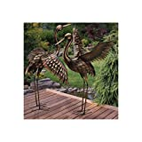 CHSGJY Large Bronze Patina Flying Crane Pair Sculpture Heron Bird Yard Art Metal Statue Home Garden Decor For Sale
