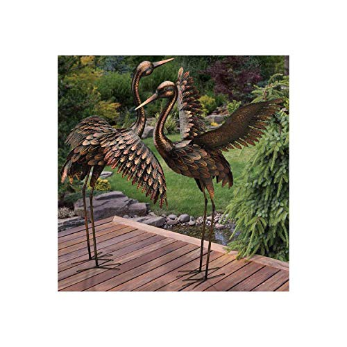 Flying Crane Bronze Sculpture - Set of 2