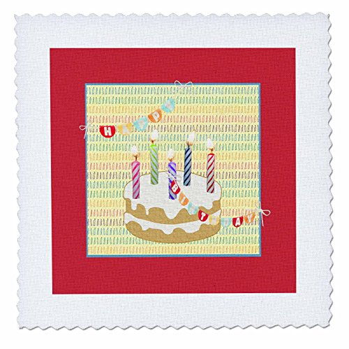3dRose Beverly Turner Birthday Design - Five Candles on Cake